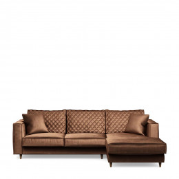Kendall sofa with chaise longue right velvet chocolate