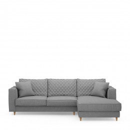 Kendall sofa with chaise longue right washed cotton grey