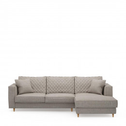 Kendall sofa with chaise longue right washed cotton stone