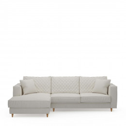 Kendall sofa with chaise longue left oxford weave alaskan white