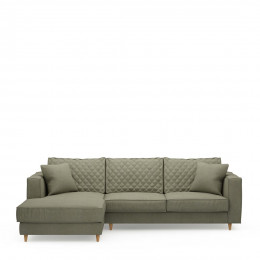 Kendall sofa with chaise longue left oxford weave forrest green