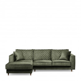 Kendall sofa with chaise longue left velvet ivy