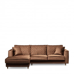 Kendall sofa with chaise longue left velvet chocolate