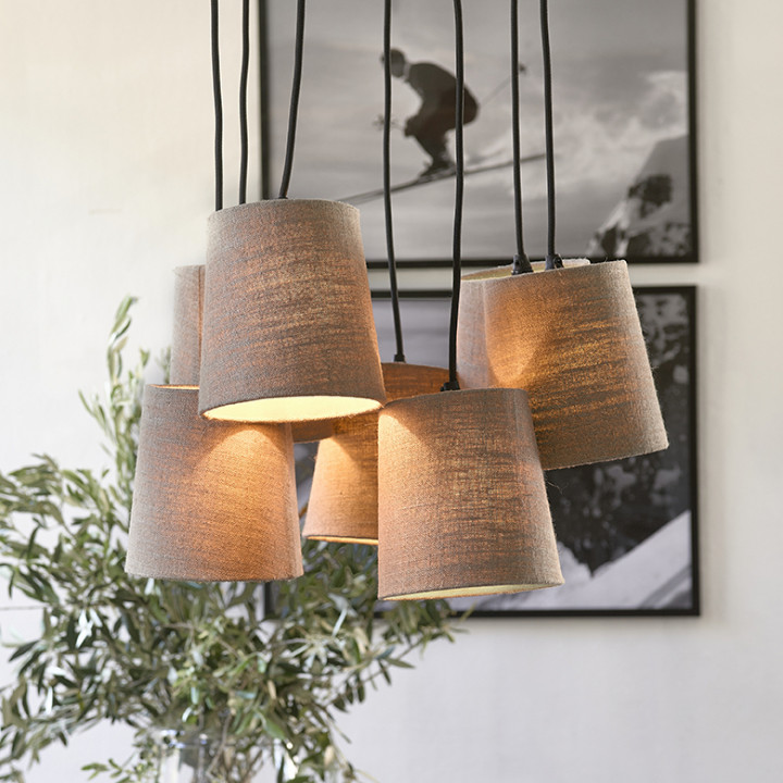 Silverstone 7 shade hanging lamp flax