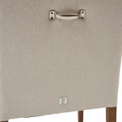 Savile row oxford weave dining arm chair flanders flax