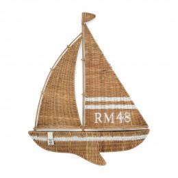 Rr rustic rattan sailing boat wall decoration
