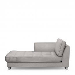 West houston chaise longue left velvet platinum