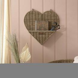 Rustic rattan heart wall organiser