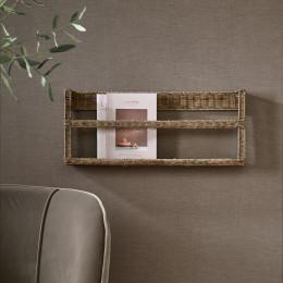 Rustic rattan magazine wall rack