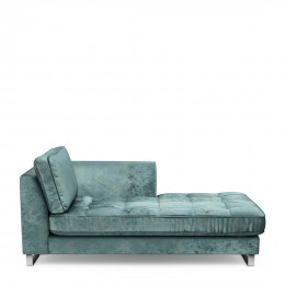 West houston chaise longue right velvet mineral blue
