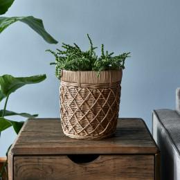 Rr rattan diamond weave planter small