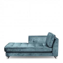 West houston chaise longue left velvet petrol