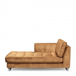 West houston chaise longue left velvet cognac