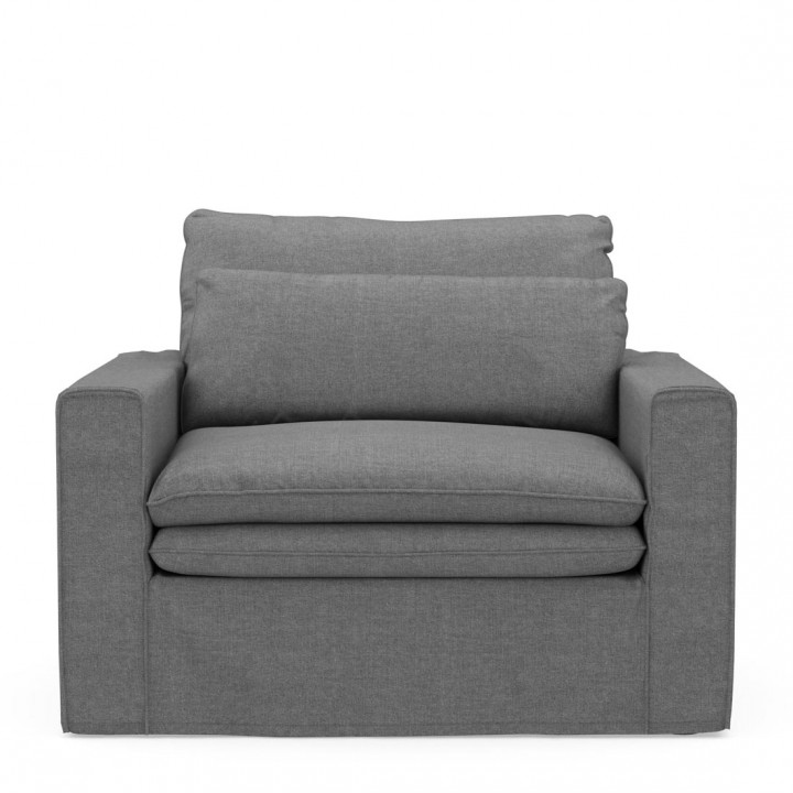 Continental love seat washed cotton grey