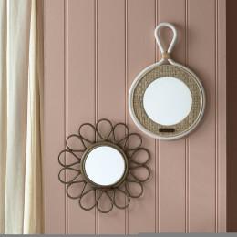 Natural weave round mirror
