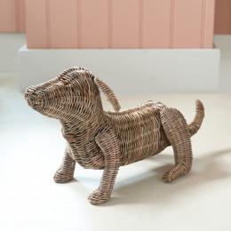 Rustic rattan dachshund model