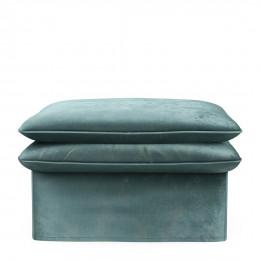 Continental footstool velvet mineral blue