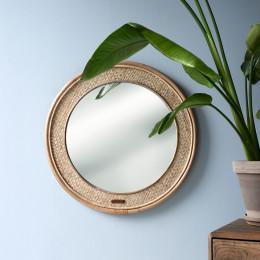 Natural weave round mirror 68cm diameter
