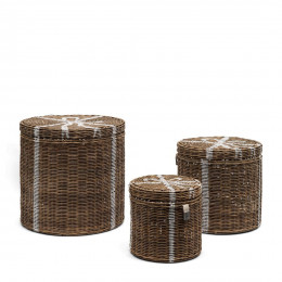 Rustic rattan pretty gift basket set of 3 pieces
