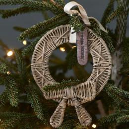 Rustic rattan mini christmas wreath
