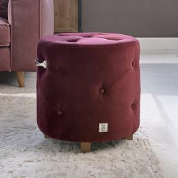 Bowery footstool velvet iii burgundy