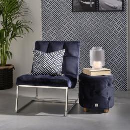 Bowery velvet iii footstool indigo