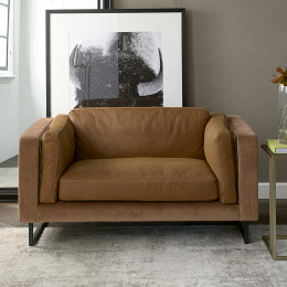 Biltmore love seat leather cognac