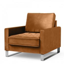 West houston armchair velvet golden brown