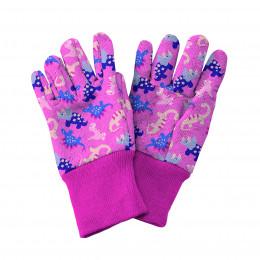 Pink dinosaur kids gardening gloves
