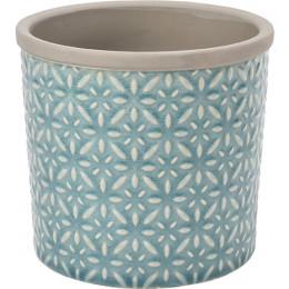 Glazed pot tuscany large blue 16cm dia