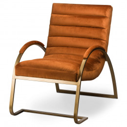 Vintage ark chair burnt orange brass