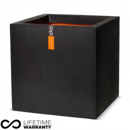Urban smooth square planter black 50cm