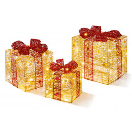 3 piece gold red parcels led