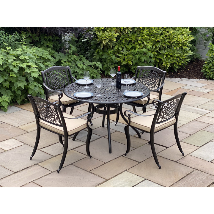 Toulouse 4 seat set with 122cm round table bronze