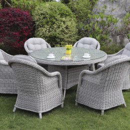 Sepino 6 seat set with 135cm round table lazy susan light grey