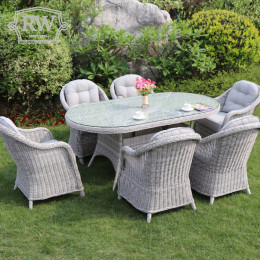 Sepino 6 seat set with oval table lazy susan light grey