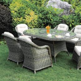 Sepino 6 seat oval dining set w l susan