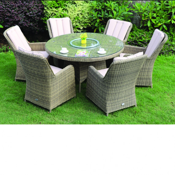 Verona 6 seat round dining set w l susan
