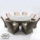 Verona 8 seat round dining set w lsusan