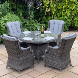 Boston 4 seater round dark grey