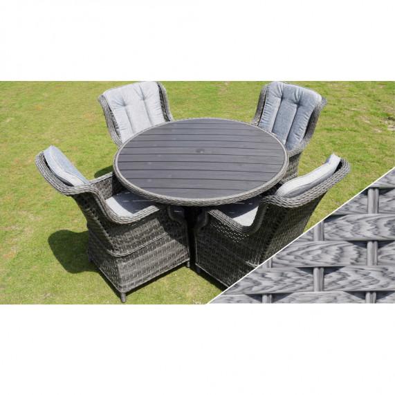 Boston 4 seat round set polywood light grey