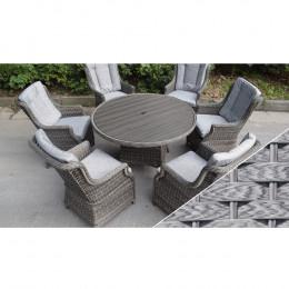 Boston 6 seat round set polywood light grey