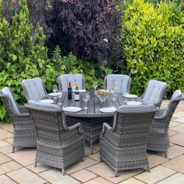Boston 8 seat round set dark grey