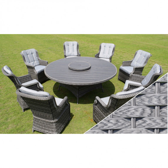 Boston 8 seat round set polywood light grey