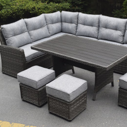 Boston casual sofa polywood dining set dark grey