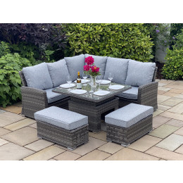 Boston small adj casual dining set dark grey