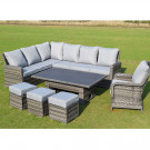 Boston adjustable casual dining set polywood dark grey
