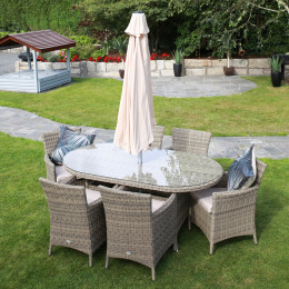 Dumont 6 seat set with oval table natural