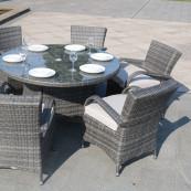 Charleston 6 seat set with 135cm round table light grey