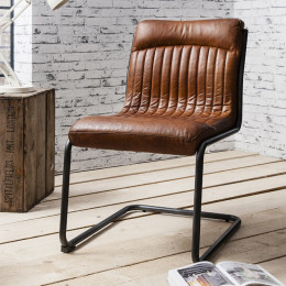 Industrial leather dining chair brown